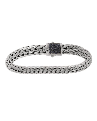 Classic Chain 7.5mm Medium Braided Silver Bracelet, Black Sapphire