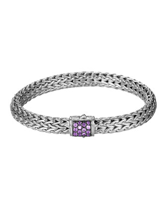 Classic Chain 7.5mm Medium Braided Silver Bracelet, Amethyst