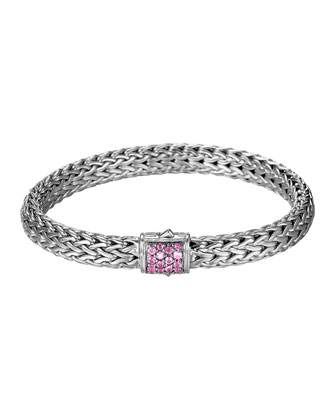 Classic Chain 7.5mm Medium Braided Silver Bracelet, Pink Spinel