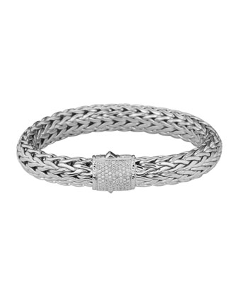 Classic Chain 11mm Large Braided Silver Bracelet, Diamond