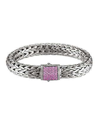 Classic Chain 11mm Large Braided Silver Bracelet, Pink Sapphire