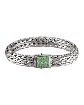 Classic Chain 11mm Large Braided Silver Bracelet, Tsavorite