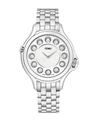 Crazy Carats Stainless Steel Topaz Watch with White Dial, 2.9 TCW
