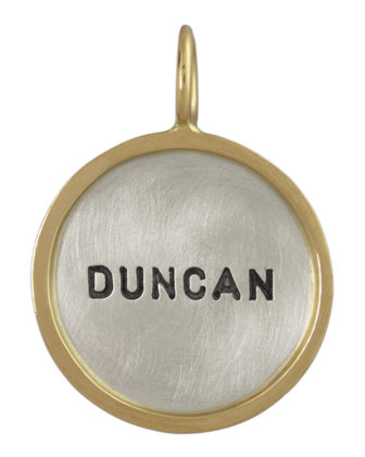 Silver & 14k Gold Single Uppercase Name Charm