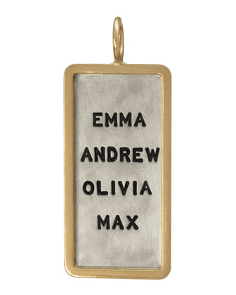 Silver & 14k Gold Uppercase 4-Name ID Tag Charm