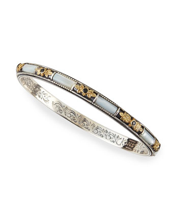 Silver & 18k Gold Mother-of-Pearl Bangle