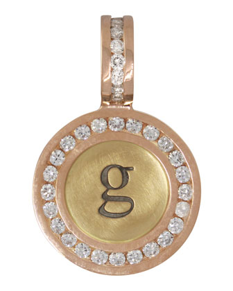 14k Yellow/Rose Gold Single Lowercase Initial Charm with Diamonds