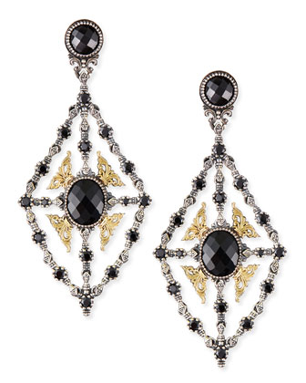 Onyx & Spinel Chandelier Earrings