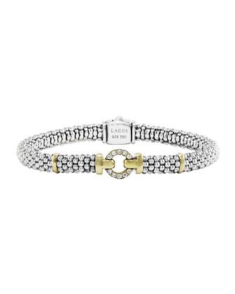 Sterling Silver & 18k Gold Rope Bracelet with Diamonds, 6mm