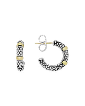 Silver & 18k Gold Caviar Hoop Earrings, 19mm