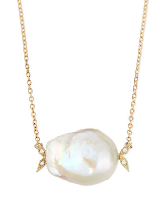14k Gold Diamond Leaf & White Pearl Necklace