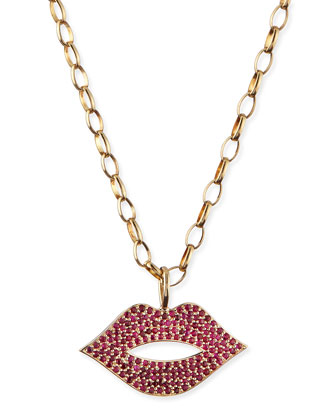Pave Ruby Lip Charm Necklace