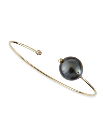 14k Gold Cuff with Black Tahitian Pearl and Single Diamond Caps