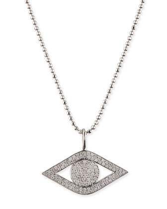 Pave Diamond Evil Eye Charm Necklace