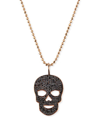 Pave Black Diamond Skull Charm Necklace