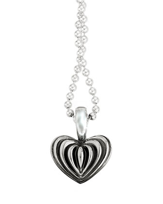 Fluted Heart Pendant Necklace, 34