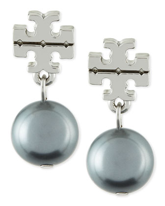 Silvertone Logo Pearl Drop Earrings