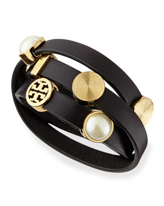 Livia Leather Wrap Bracelet, Black