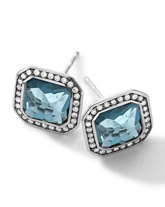 Sterling Silver Stella London Blue Topaz Stud Earrings with Diamonds