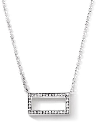 Sterling Silver Rock Star Rectangle Pendant with Diamonds