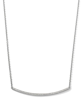 Sterling Silver Pave Smile Necklace with Diamonds