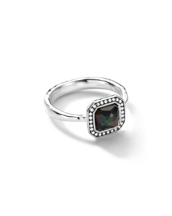 Sterling Silver Stella Square Black Shell Ring with Diamonds