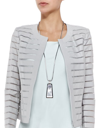 Catrice Zip-Front Striated Leather Jacket, Matte Silk Bias Tank, Necklace & ...