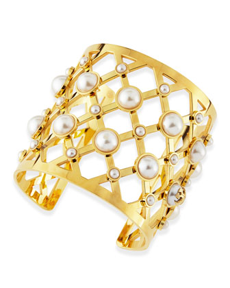 Wide Lattice & Pearly Cuff