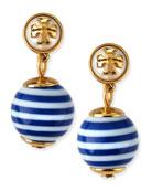 Saher Logo Drop Earrings, Blue/White