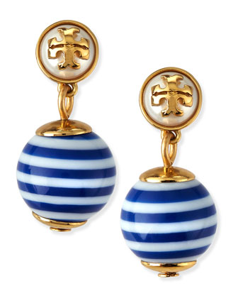 Saher Logo Drop Earrings, Blue/White