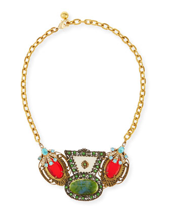 One-of-a-Kind 50 Year Necklace with Red & Green Crystals