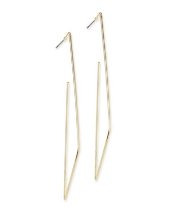 Open Rectangle Hoop Earrings, Golden