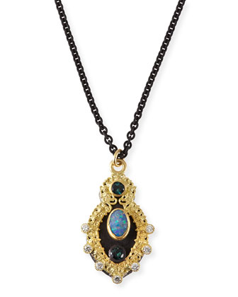 Old World Scroll Necklace with Opal, Tourmaline & Diamonds