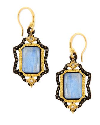 Old World Emerald-Cut Kyanite Earrings with Diamonds