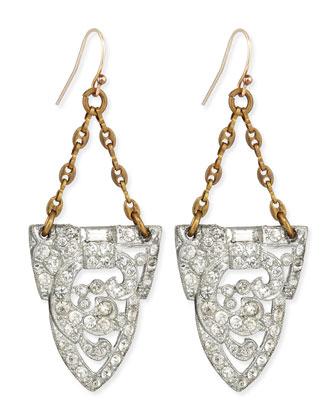 One-of-a-Kind Art Deco Dress-Clip Drop Earrings