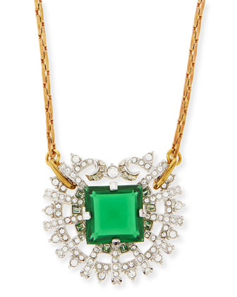 One-Point Emerald Glass & Crystal Necklace