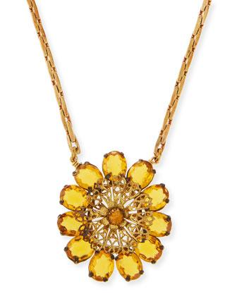 One-Point Czech Saffron Glass Necklace