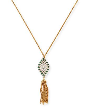 1900 Antique Czech Hat Pin & Tassel Pendant Necklace