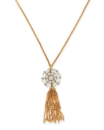 Vintage 1950s Glass Crystal & Tassel Necklace
