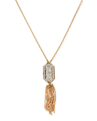 1920s Crystal Buckle & Tassel Necklace