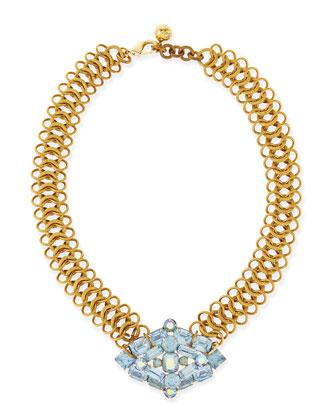 Snake Necklace with 1950s Sky Blue Brooch