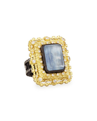 Old World Emerald-Cut Quartz/Kyanite & Diamond Ring