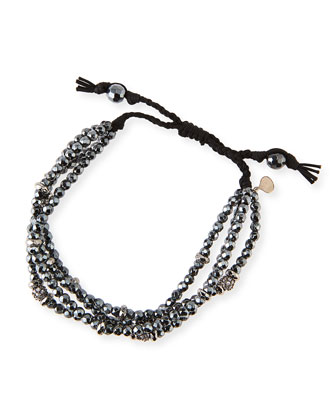 4-Strand Black Spinel Beaded Bracelet