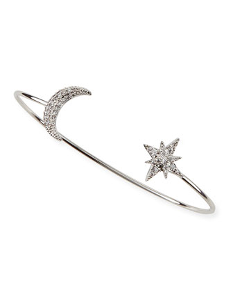 Cubic Zirconia Moon & Star Pinch Bracelet