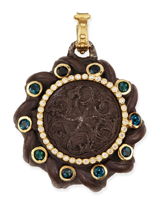 Old World Spiral Coin Locket with Tourmaline & Diamonds