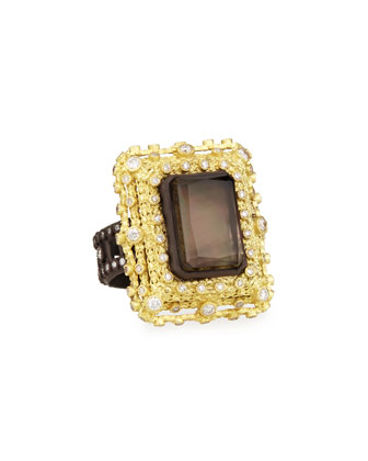 Old World Emerald-Cut Quartz/Black Mother-of-Pearl & Diamond Ring