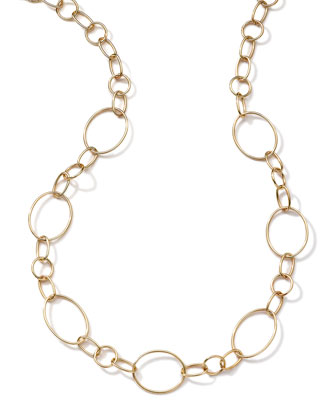 18k Gold Glamazon Link Necklace with Seven Ovals, 17