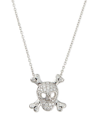 18K White Gold Diamond Skull & Crossbones Necklace