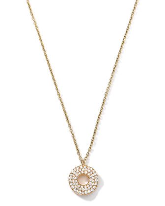 18k Gold Mini Stardust Wavy Disc Drop Necklace with Diamonds (0.22 ctw) ...