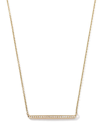 18k Gold Mini Stardust Horizontal Bar Necklace with Diamonds